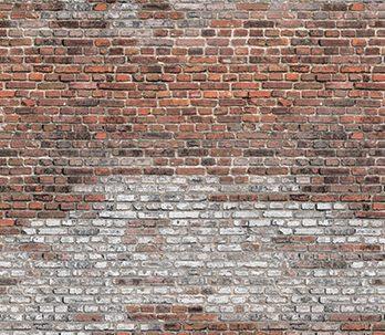 016.54 Rustieke muur met bakstenen en kalksluier