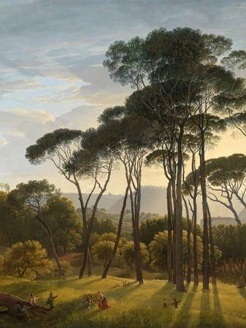 029.44 Italiaans landschap met parasoldennen