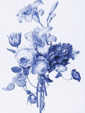 103.06 Mooie grafische print in delfts blauw