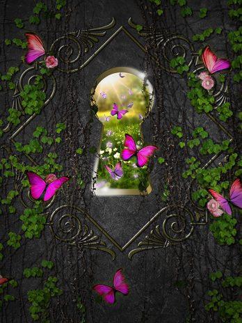 Sleutelgat met roze vlinders – Fantasie