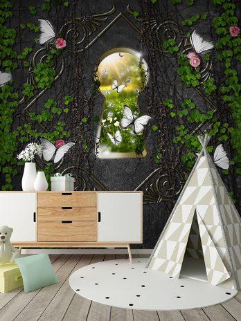 Sleutelgat met witte vlinders – Fantasie
